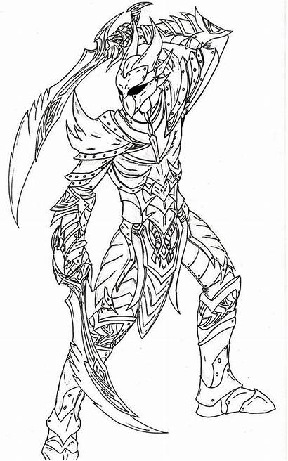 Daedric Skyrim Armor Coloring Drawing Pages Dragon