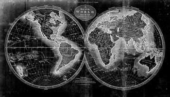 Black and White World Map (1795) Inverse 2 by