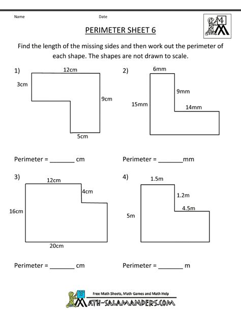 free 6th grade math worksheets area and perimeter