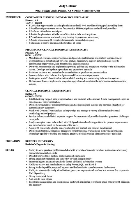 clinical informatics specialist resume sles velvet