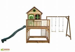 maison enfant bois liam 3 toboggan 2 balancoires With maisonnette en bois avec bac a sable
