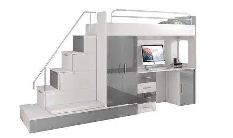 lit superposé avec bureau lit mezzanine avec escalier et rangements camille