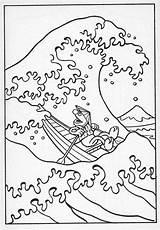 Wave Hokusai Coloring Tsunami Kanagawa Template Muppets Waves Muppet Drawing Monster Japan Sesame Sketch Ocean sketch template