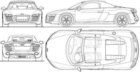 2009 audi r8 spidster roadster blueprints free outlines