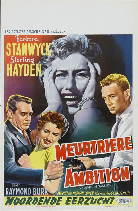 The movie was notable for the star teaming of two actors who had starred in famous thrillers, anthony perkins from психо (1960), and kathleen turner from body heat (1981). Crime of Passion (United Artists, 1957) | Belgian Poster Film Noir, Crime!... | Pinterest ...
