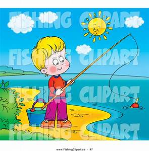 Clip Art of a Happy Boy Fishing on the Shore of a Still ...