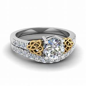 Two tone engagement ring set fascinating diamonds for Wedding ring engagement ring set
