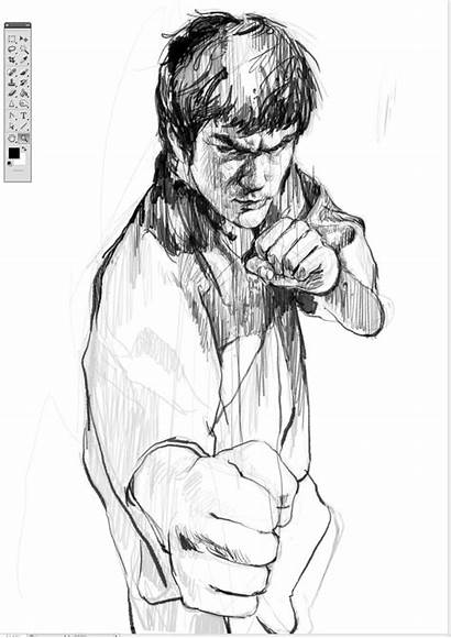 Sketch Bruce Lee Drawing Martial Arts Wing