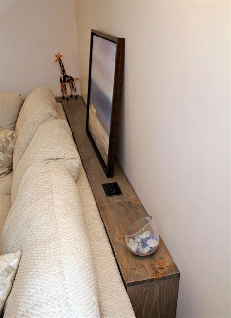 sofa table with outlet narrow storage behind the sofa make with 1x4 quot lumber