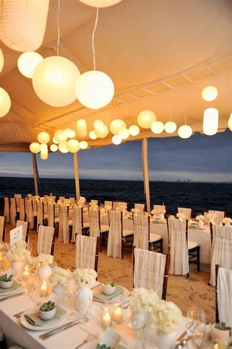 Wedding reception tablescape on the beach