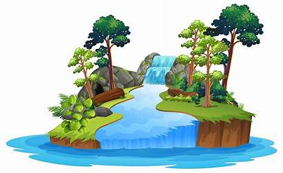 Waterfall Background Nature Isolated Vector Lion Island