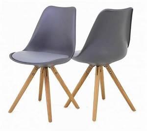 Chaise Bébé Scandinave : lot 2 chaises scandinave grises pied en compas oris ~ Teatrodelosmanantiales.com Idées de Décoration