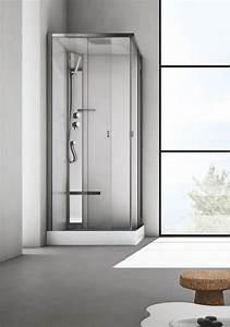 Box doccia con seduta in cristallo per bagno moderno