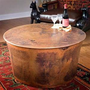 jatex copper 36quot x 18quot round drum coffee table 22314 With outdoor drum coffee table