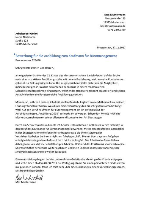 kaufmann kauffrau fuer bueromanagement bewerbungnet