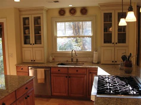 two different colored cabinets in kitchen different color cabinets and lower kitchen 9501