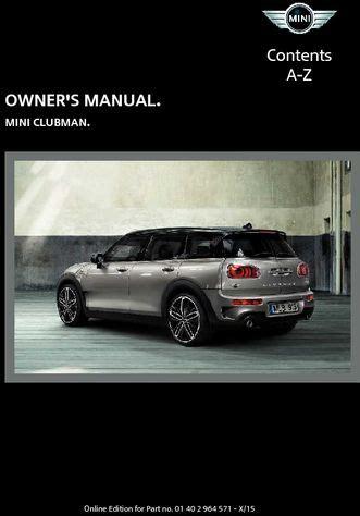 car repair manuals online pdf 2009 mini clubman regenerative braking 2016 mini clubman owner s manual mini connected pdf 246 pages