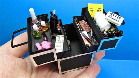 diy miniature doll makeup train case youtube