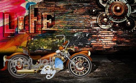 3d Graphic Design With Metal Motorbike And Brick Wall Art