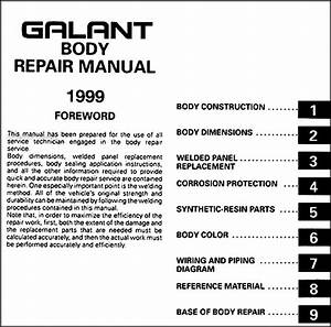 1999 Mitsubishi Galant Body Manual Original