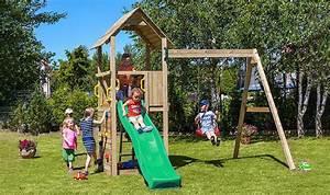 Balancoire Et Toboggan : portique de balan oire pour jardin avec mur d 39 escalade et ~ Melissatoandfro.com Idées de Décoration