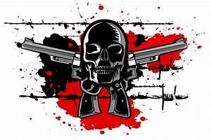 Illustration Of Skull With Guns On White Background
