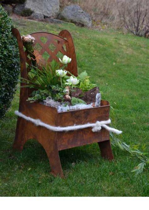 Gartendeko Blech by Metall Stuhl Garten Deko Idee Zum Beflanzen 187 Edelrostshop