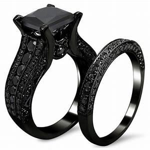 Women39s Gothic Retro Black Gold Wedding Engagement Band