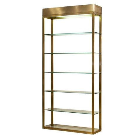Brushed Nickel Etagere by Mid Century Brushed Brass Frame 201 Tag 232 Re For Sale At 1stdibs