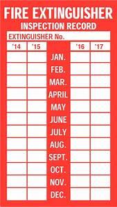 Fire extinguisher inspection labels seton uk for Fire extinguisher inspection tag template