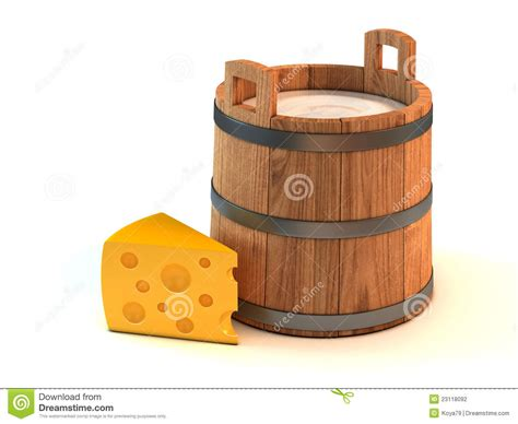 Milk Bucket And A Piece Of Cheese Stock Photography