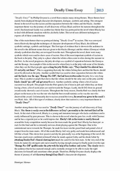 Deadly Unna Essay Academia