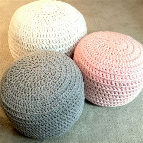 pink and grey blue crochet ottoman pouf footstool