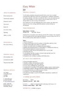 radio disc jockey sle resume modele cv dj cv anonyme