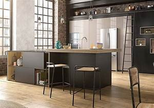 cuisine blanche mur taupe 10 indogate cuisine noir et With deco cuisine avec chaise noir