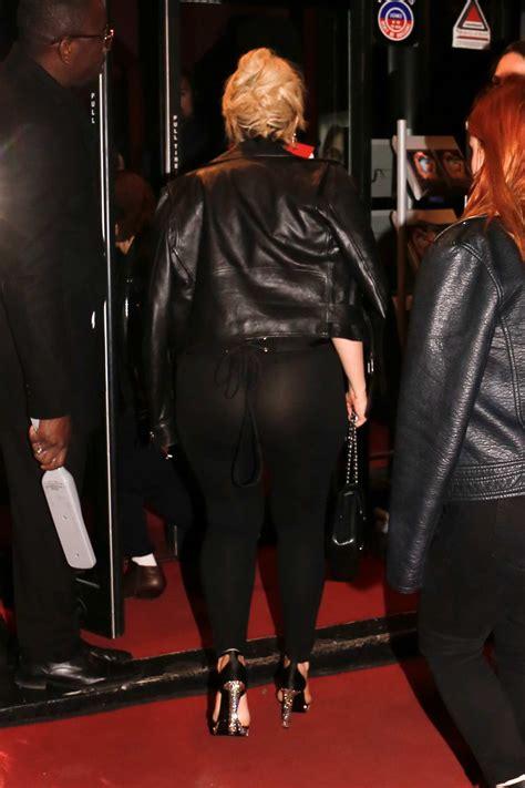 bebe rexha stuns   black sheer corset top  leggings   arrives  crazy horse  paris