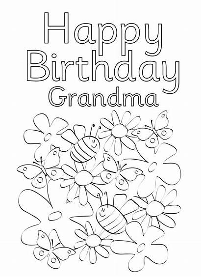 Grandma Coloring Birthday Happy Cards Pages Printable