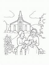 Church Coloring Children Pages Reading Going Scriptures Easter Lds Line Library Families Go Sitting Building Young Boy Activities Worksheet Respect sketch template