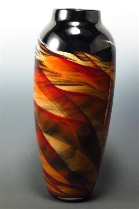 red black dreamscape vase  mark rosenbaum art glass