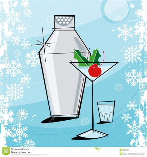vintage cocktail party clipart retro style christmas stock vector image 3056826