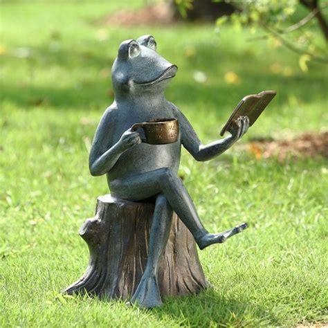 Joy Of Reading Frog On Tree Stump Metal Garden Sculpture