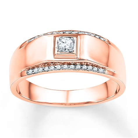 men s wedding band 1 6 ct tw diamonds 10k rose gold