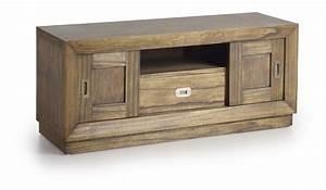 Meuble Tele En Bois : meuble t l en bois de mindy 2 portes coulissantes 1 ~ Melissatoandfro.com Idées de Décoration