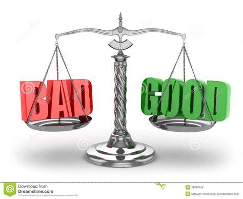 balance bad  good scales stock photography image
