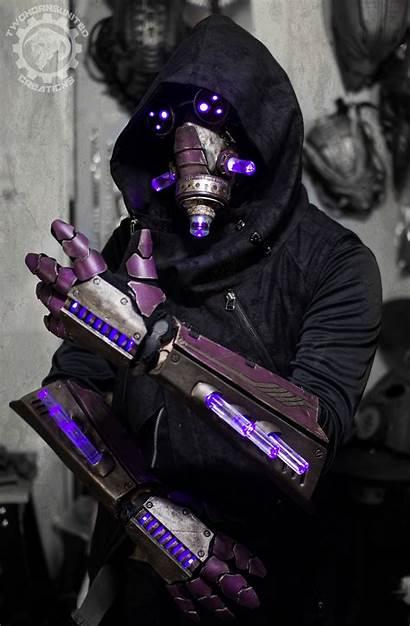 Cyberpunk Mask Gauntlets Summoner Deviantart Twohornsunited Character
