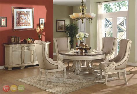 round formal dining table set halyn round traditional antique white formal dining room