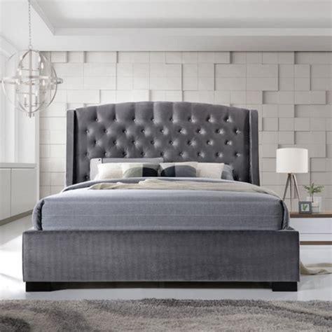epsilon king size bed  dark grey velvet fabric