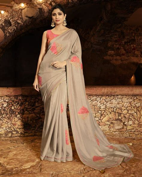 There are 1600 contrast blouse for sale on etsy, and they cost 677.18 nok on average. Light Brown Embroidered Soft Silk Saree & Unstitched Blouse in 2020 | Trendy sarees, Fancy ...