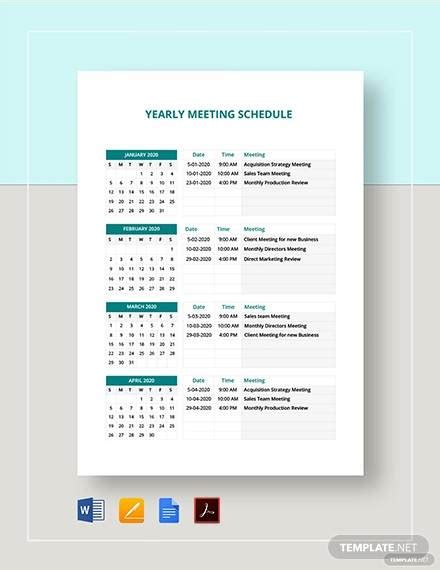 sample meeting schedules  ms word