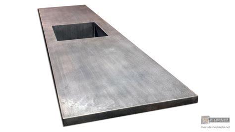 Zinc counter top with integrated sink & dark patina matte